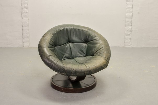 Phenomenal Mid Century Scandinavian Green Leather Ball Swivel Chair 1960S Ibusinesslaw Wood Chair Design Ideas Ibusinesslaworg
