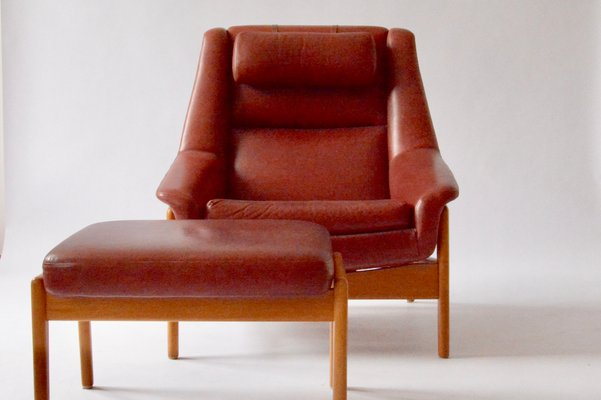 Enjoyable Red Leather Armchair Ottoman By Folke Ohlsson For Dux 1960S Set Of 2 Dailytribune Chair Design For Home Dailytribuneorg