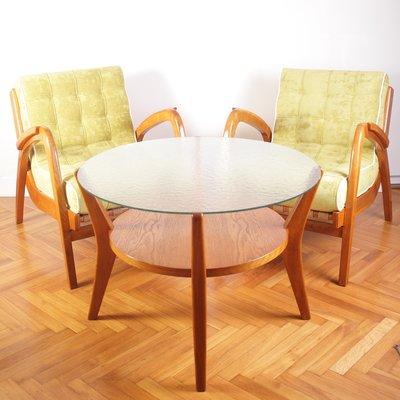 Mid Century Lounge Chairs Coffee Table By A Kropacek K Kozelka For Ceske Umelecke Dilny 1940s Set Of 3