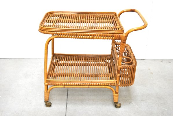 Mid Century Wicker Serving Cart From Vittorio Bonacina