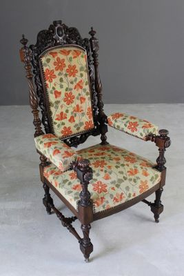 Antique Victorian Carved Throne Chair 2