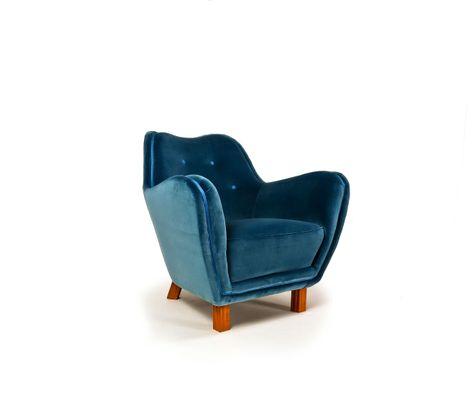 Mid Century Blue Velvet Armchair