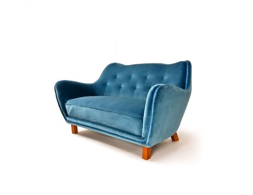 Brilliant Mid Century Blue Velvet Sofa Onthecornerstone Fun Painted Chair Ideas Images Onthecornerstoneorg