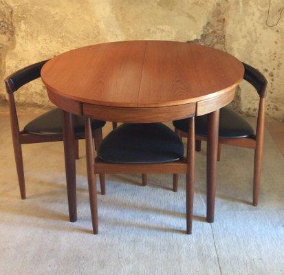 Extending Dining Table 4 Chairs By Hans Olsen For Frem Rojle 1950s Set Of 5
