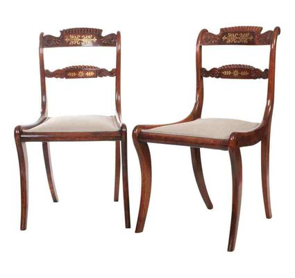 Regency Brass Inlaid Chairs Set Of 2