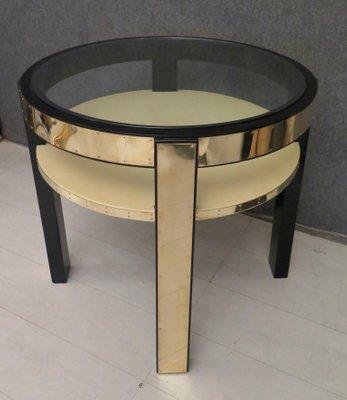 Round Mid Century Italian Goatskin, Brass U0026 Glass Side Table, 1940s