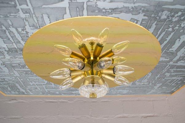 Lampada da parete o soffitto mid century moderna floreale in vetro