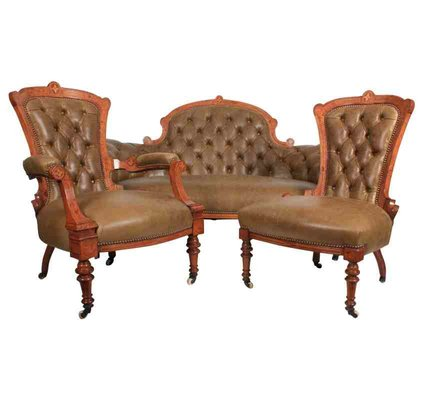 Swell Victorian Walnut Inlaid Leather Set With Sofa 2 Matching Chairs Gmtry Best Dining Table And Chair Ideas Images Gmtryco