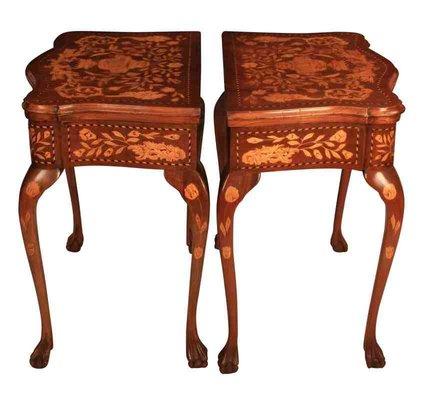 Tavoli antichi in legno di noce intarsiato, set di 2 in vendita su ...