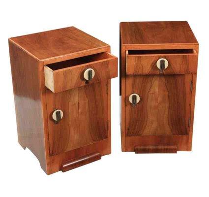 Antiques Vintage Art Deco 3 Bakelite Hndles Drawers Walnut Night Stand Bedside Cabinet