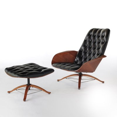 Magnificent Mid Century Mr Chair Lounge Chair Ottoman By George Mulhauser For Plycraft Set Of 2 Ibusinesslaw Wood Chair Design Ideas Ibusinesslaworg