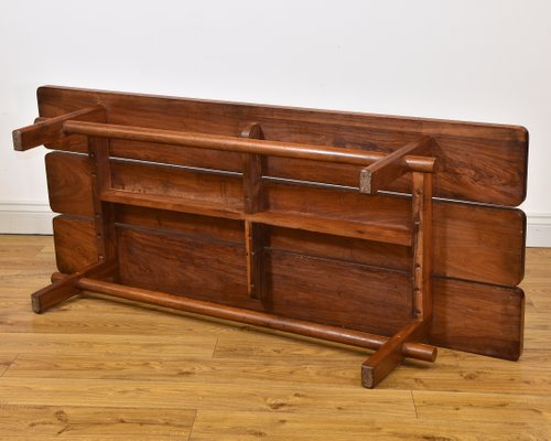 Enjoyable Mid Century Teak Slatted Low Bench Seat Or Coffee Table 1950S Ncnpc Chair Design For Home Ncnpcorg