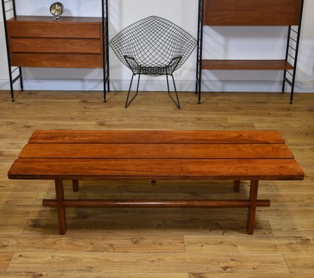 Mid Century Teak Slatted Low Bench Seat Or Coffee Table 1950s 2