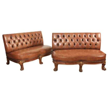 Remarkable Leather Chesterfield Style Bench Sofas 1920S Set Of 2 Squirreltailoven Fun Painted Chair Ideas Images Squirreltailovenorg