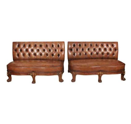 Sensational Leather Chesterfield Style Bench Sofas 1920S Set Of 2 Gmtry Best Dining Table And Chair Ideas Images Gmtryco