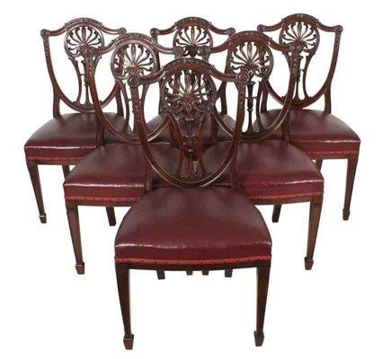 Antique Mahogany Hepplewhite Dining Chairs Set Of 6 2
