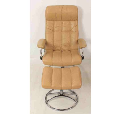 Awesome Mid Century Leather Reclining Lounge Chair Footstool Ibusinesslaw Wood Chair Design Ideas Ibusinesslaworg