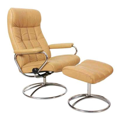 Remarkable Mid Century Leather Reclining Lounge Chair Footstool Ibusinesslaw Wood Chair Design Ideas Ibusinesslaworg
