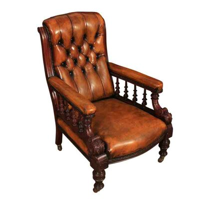Antique Hand Dyed Buttoned Leather U0026 Mahogany Library Chair