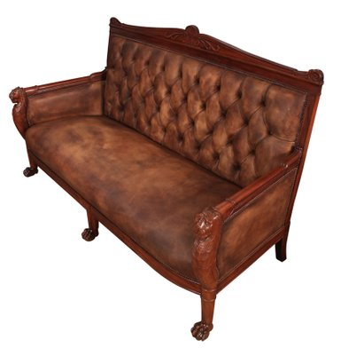 French Empire Oned Leather Sofa