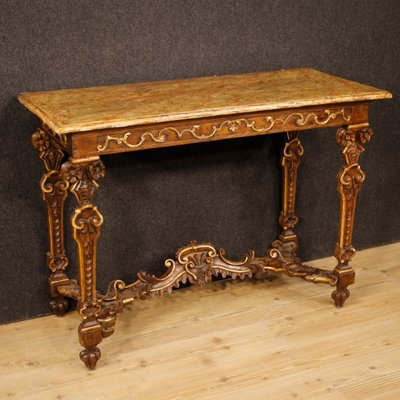 Antique Italian Lacquered Gilded Wood Console Table 1850s