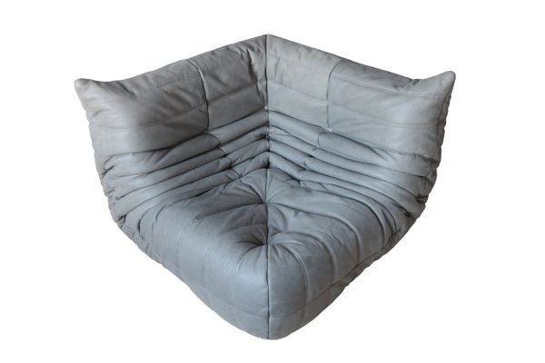 Vintage Elephant Grey Leather Togo Corner Couch by Michel Ducaroy for Ligne  Roset