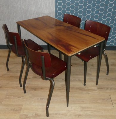 Industrial Style Dining Set, 1960s, Set Of 5