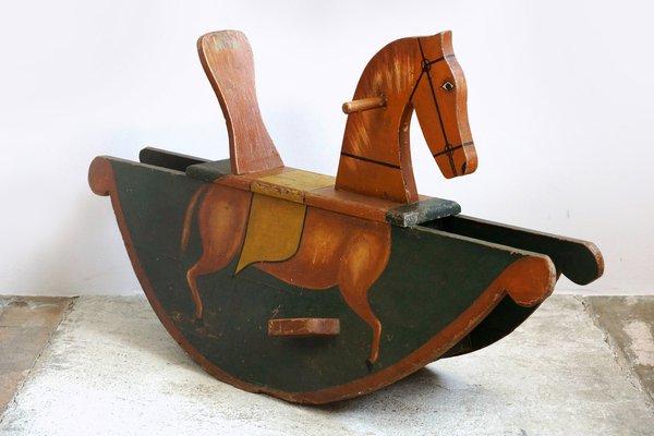 Cavallo A Dondolo Artigianale.Cavallo A Dondolo Biedermeier Dipinto A Mano Meta Xix Secolo