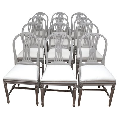 Vintage Swedish Gustavian Style Light Grey Dining Chairs, Set Of 6 1