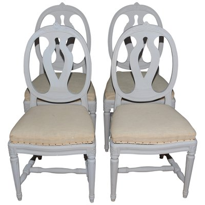 Delicieux Antique Swedish Gustavian Style Painted Dining Chairs, Set Of 4 1