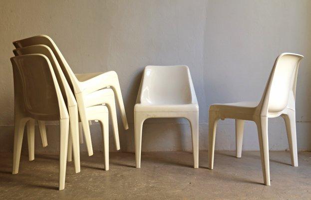 Sedie Bianche Design : Sedie impilabili bianche in plastica di schröder & henzelmann anni