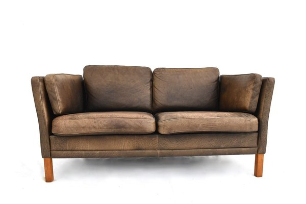 Vintage Danish Brown Leather Sofa by Mogens Hansen, 1960s