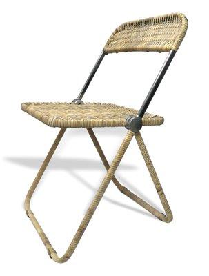 Merveilleux Vintage Rattan Folding Chair By Giancarlo Piretti For Anonima Castelli,  1980s