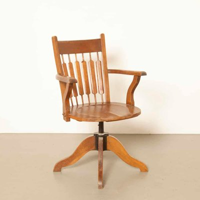 Antique Oak Office Chair 1 & Antique Oak Office Chair for sale at Pamono