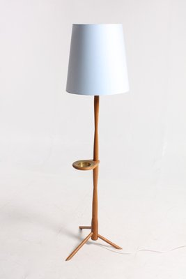 Mid Century Scandinavian Oak Brass Floor Lamp 1960s