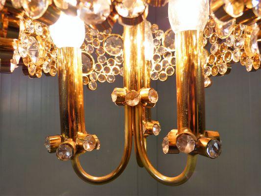 Tischlampe Palwa Palme Messing vergoldet Murano Kristallglas Glastropfen Vintage
