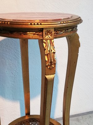 High Gold Plated Wooden Side Table With Marble Top 1950s