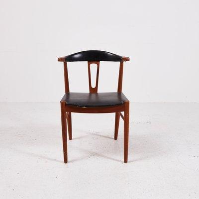 Sedia in pelle, Danimarca, anni \'60 in vendita su Pamono