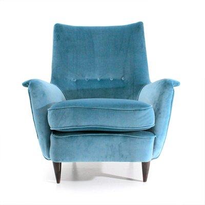 Mid Century Italian Light Blue Velvet Armchair, 1950s 2