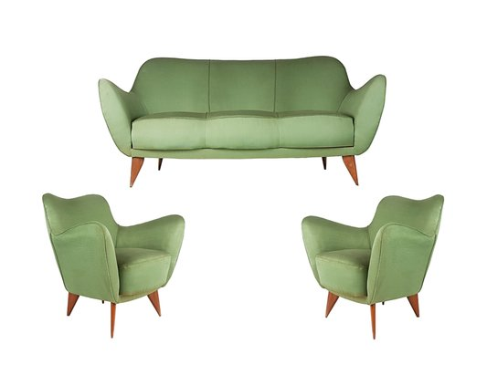 Green Fabric Wood Perla Sofa 2 Armchairs By Guglielmo Veronesi