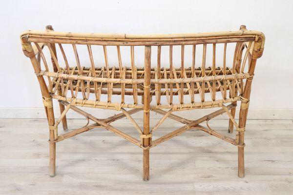 Vintage Bamboo and Rattan Living Room Set, 1960s for sale at Pamono