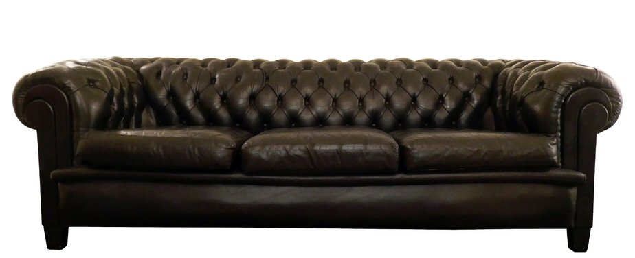 Black 3-Seater Chesterfield Sofa, 1940s for sale at Pamono