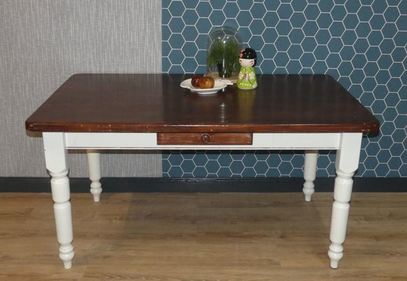 Pamono & Large White \u0026 Brown Solid Wood Dining Table with Drawer 1980s