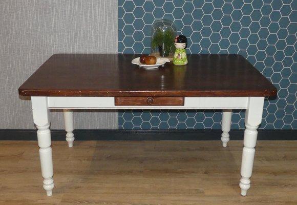 Mesa de comedor grande de madera maciza blanca y marrón con cajón ...