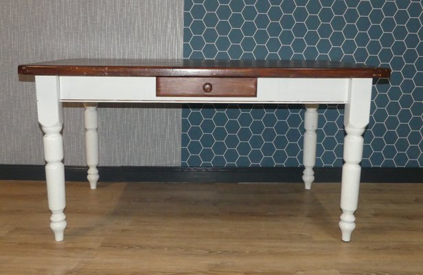 Large White & Brown Solid Wood Dining Table with Drawer, 1980s
