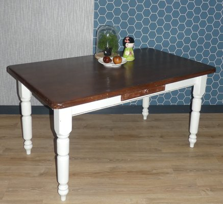 Large White Brown Solid Wood Dining Table With Drawer 1980s