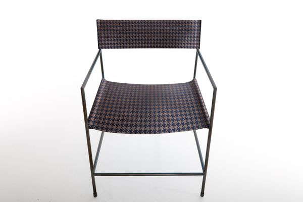 Astounding No 14 Black Armchair With Royal Blue Houndstooth Leather By Christian Watson Pdpeps Interior Chair Design Pdpepsorg