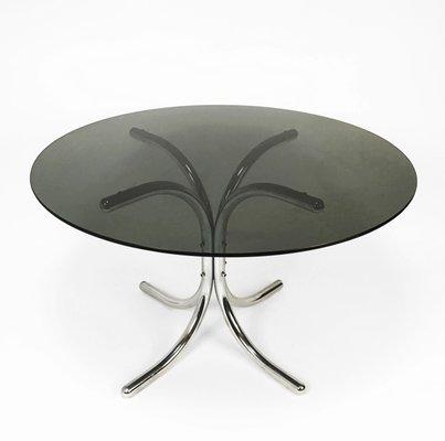 Italian Chrome Smoked Glass Dining Table 1970s 1170