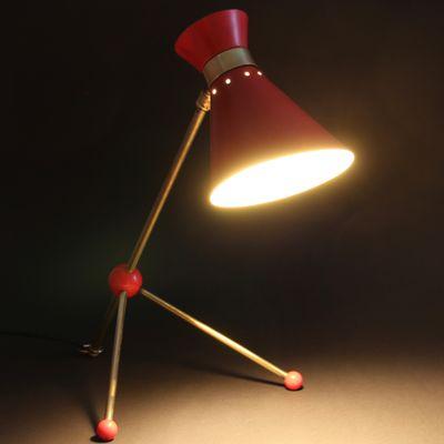 Lampe De Bureau Ou Applique Murale Ajustable Rouge En Laiton 1950s