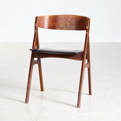 Danischer Mid Century Stuhl Aus Leder Teak 1960er